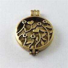 2pcs Antiqued Bronze Heart Shape Flower Hollow Locket Alloy Pendant Jewelry