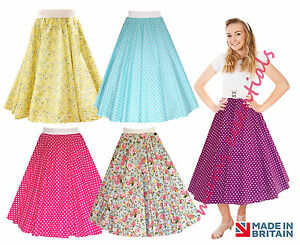 Ladies-1950-039-s-50-039-s-GREASE-Style-Polka-Dot-24-034-Length-Skirts-VINTAGE-Fancy-Dress