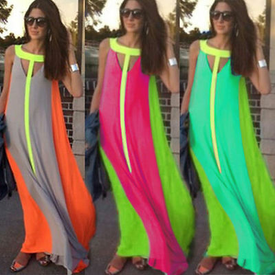 New Womens Ladies Boho Sexy Summer Beach Evening Party Long Maxi Chiffon Dress