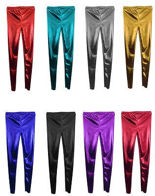 Kids Ladies Women's Girls Disco Metallic Shiny Pants Dance Leggings Footless Weich Und Leicht