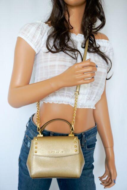 72e1cf37575f Michael Kors Leather Karla Mini Convertible Th Crossbody Bag in Pale Gold