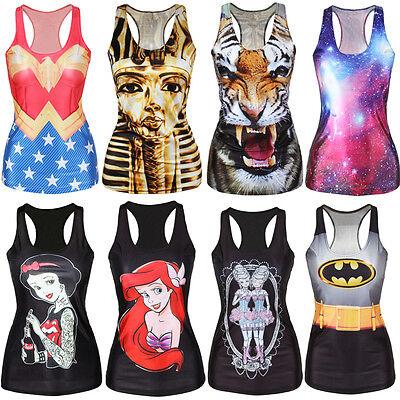 WOMENS Quality Digital Print Tank Top Blouse Gothic Punk Club Street Style Lady