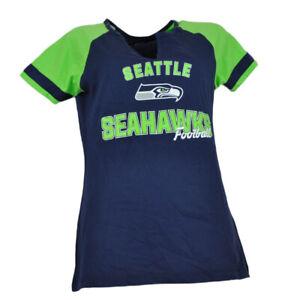 NFL-Seattle-Seahawks-Womens-Ladies-Tshirt-Tee-Blue-Short-Sleeve-V-Neck-Green
