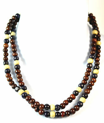 COOL  RETRO SURFER LOOK BROWN BEAD MULTI LAYER BEADED NECKLACE  (CL7)