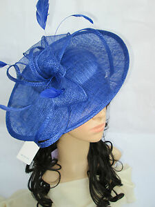 21f932982db41 Image is loading NEW-SAPPHIRE-BLUE-SINAMAY-amp-FEATHER-FASCINATOR-HAT-