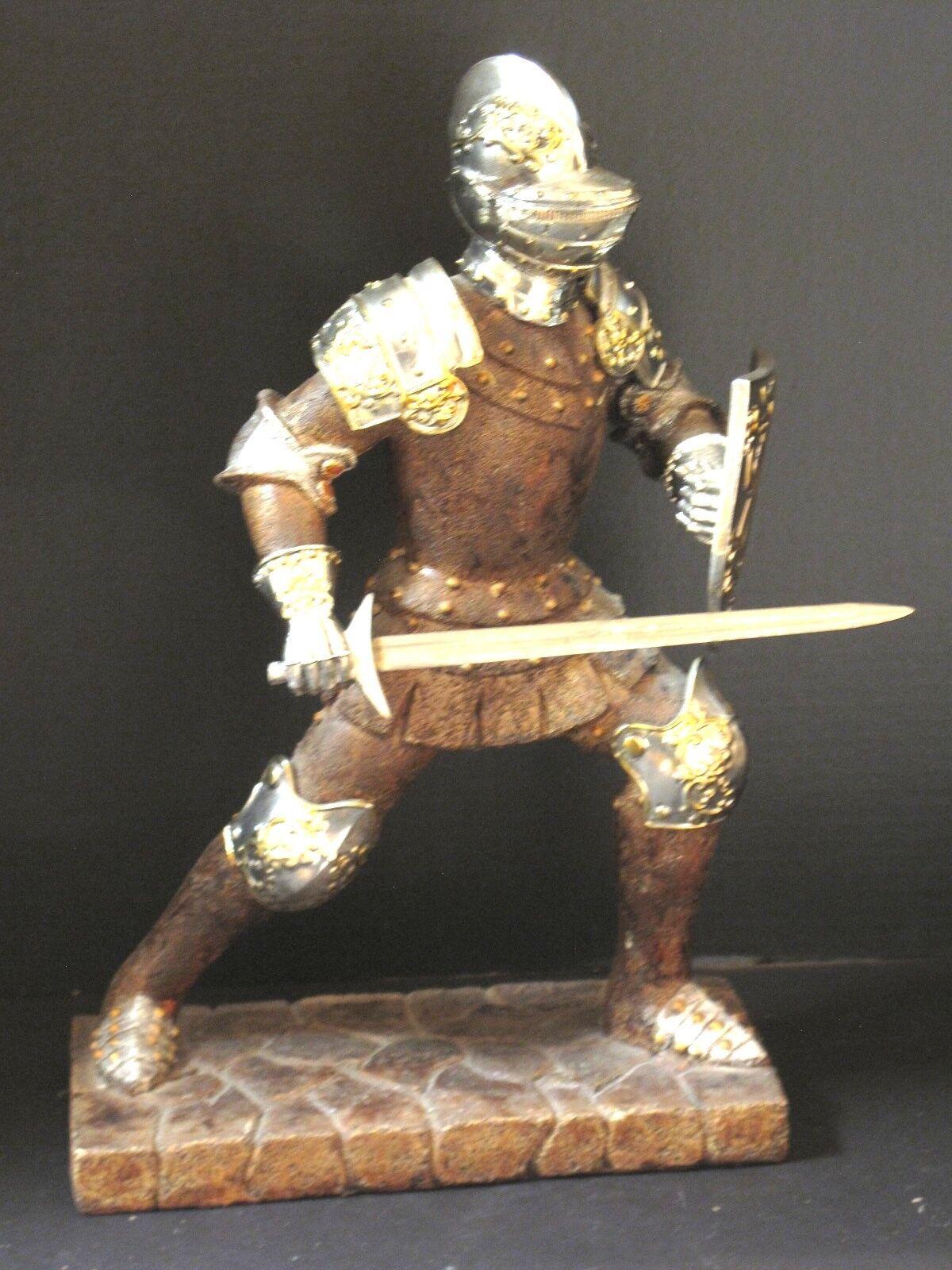 Large Vintage Valiant Crusader Knight Armor Sword Statue Medieval Dragon Shield