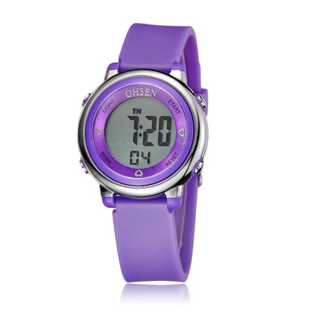 OHSEN Children Girls Purple Date Day Alarm Sport Digital Quartz Wrist Watch Gift