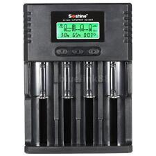 Soshine 4-Channel LCD Li-ion 26650 18650 14500 AA AAA Battery Charger EU M8S0