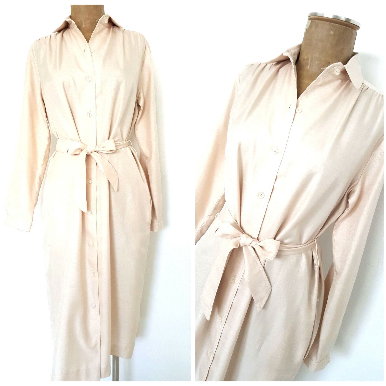 Vintage 70s Clare Joseph Shirt Dress Size Medium Ivory Belted Orvis Button Front