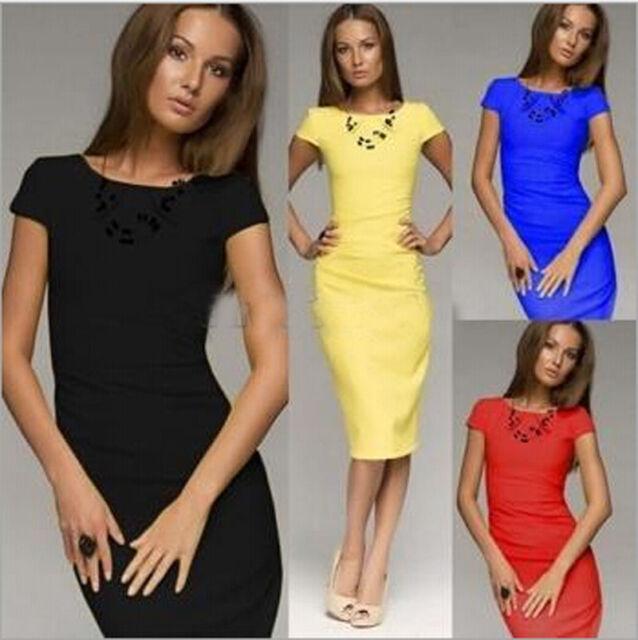 Women's Casual Dress Bodycon Elegant Wrinkle Party OL Business Slim Pencil Dress