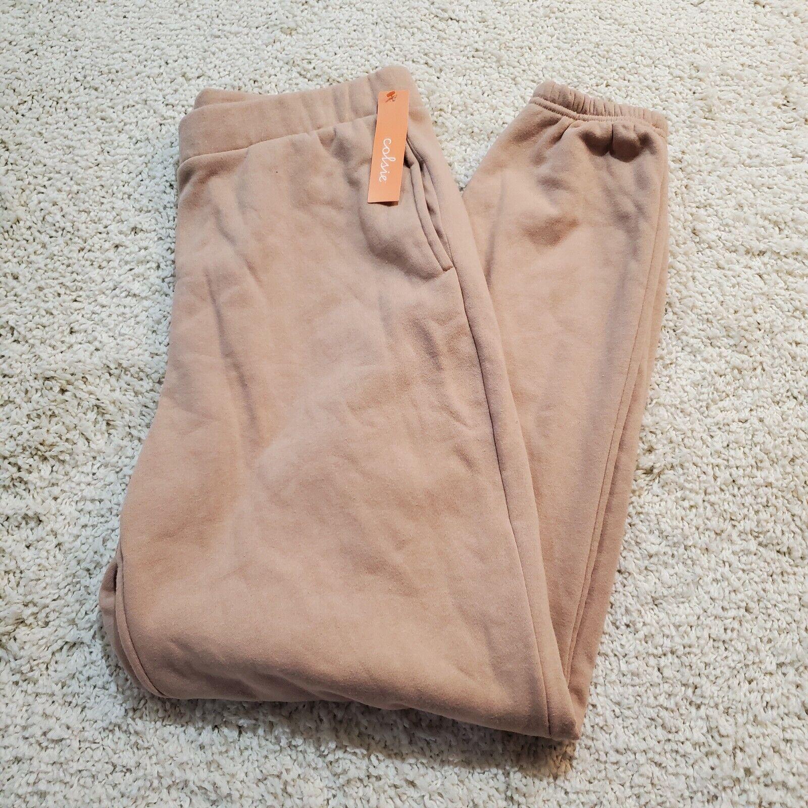 Colsi Tan Women's Fleece Lounge Jogger Pants Medium Tan Joggers Brown Joggers M