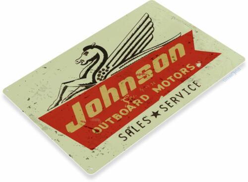 Johnson Sea-Horse Outboard Motors Marina Boat Vintage Retro Tin Sign