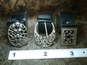 Pelle Pietre Artigianale Me11 Cintura Vintage Cm Cuoio Belt 6 Buckle Fibbia Nero lFKc1J