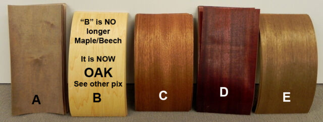 Wood Micro Veneer - Lot - Assorted Dyed Mahogany -- Self Adhesive