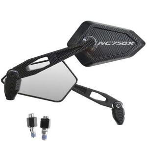 Spiegel-Mirror-Street-Carbon-Look-Silber-Logo-Honda-NC750X-Nc-750-X-ABS-Code-DCT