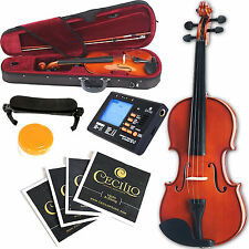 Full Size 4/4 natural acoustic Violin Fiddle Case Bow Rosin Tuner Rest Strings