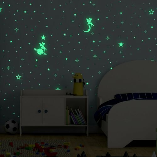 DIY Art Home Nursery Flexi Mini Stickers Fairy Glow in the Dark Sky Wall Decals