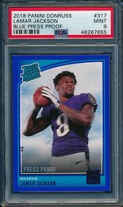 2018-Panini-Donruss-BLUE-PRESS-PROOF-Lamar-Jackson-ROOKIE-317-PSA-9-RAVENS-MINT