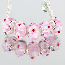Pink flower 5pcs MURANO glass bead LAMPWORK fit European Charm Bracelet