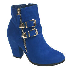 New Womens Ankle Boots High Heels Suede Booties Round Toe Lace Up Shoes by pela2