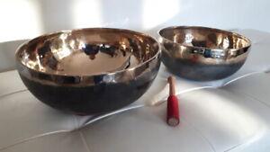 CAMPANA TIBETANA ENORME bordo oro nero 7 metalli  yoga meditazione chakra