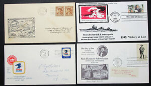 US-Postage-Set-of-4-Covers-Heavy-Cruiser-Indianapolis-FDC-USA-Letters-H-8351