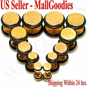 V117-Gold-Fake-Cheaters-Illusion-Faux-16G-Ear-Plugs-4G-2G-0G-00G-7-16-1-2-034-Steel