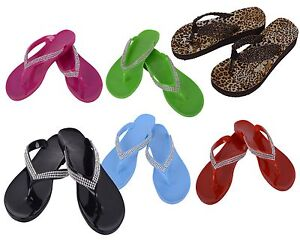 Women Ladies Beach Summer Diamante Slipper Jelly Flip Flop Sandals Shoes New