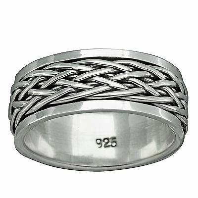 Band Twisted Rope Spinner Ring 10-12g 925 Sterling Silver 10mm Braid Beldiamo Fine Jewelry