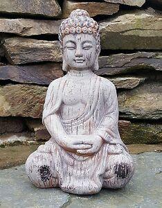 Buddha-kneeling-Ceramic-Drift-Wood-Effect-Garden-Outdoor-Statue-Ornament