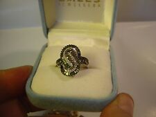 ASTOUNDINGLY BEAUTIFUL 9CT WHITE GOLD GREEN & WHITE DIAMONDS SPIRAL RING -SIZE N