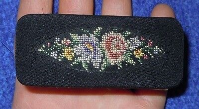 Vintage Nail Brush Hand Embroidered Wood Handle West Germany EUC