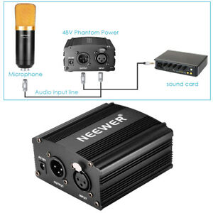Live Equipment Consumer Electronics Responsible Neewer 1-channel 48v Phantom Power Supply+adapter+one Xlr Audio Cable For Any Condenser Microphone Recording
