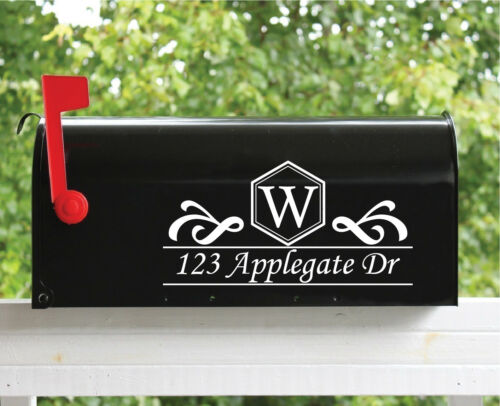 "Street Name 2 Set of 2-5.5/"" x 11/"" Custom Mailbox Decals Sticker Monogram"