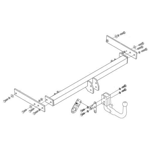 Detachable Swan Neck Tow Bar Towbar for Volkswagen Passat Estate 2011-2015