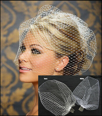 New White Ivory Charming Wedding Hat Veil Bridal Hats Face Veils Net with Comb