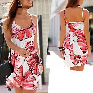 schoenes-mini-Kleid-Muster-koralle-weiss-Gr-42-XL-Strandkleid-Sommerkleid-Jersey
