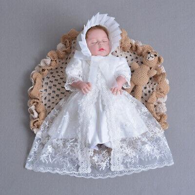 Baby Girls Designer Ivory Christening Gown Bonnet Embroidered Baptism Girl Dress