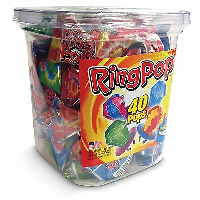 Ring Pop Lollipops - Hard Candy Pops, Variety Pack 40 Ct Container