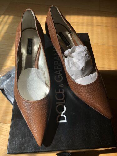 Dolce & Gabbana D&g In Pelle Tacco Basso Pompe Da Donna Taglia Uk 5.5 Eu 38.5 Nuovi