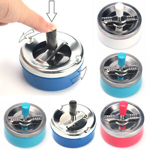 Ashtray-Spinning-Plain-Cigarette-Ash-Tray-Push-Down-Lid-Smoking-Metal
