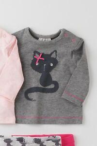 * * * вnwt Next Filles Blouse Hauts Tunique * Grey Cat T-shirt * 100% Coton * 1 Mois-afficher Le Titre D'origine