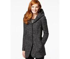 Bar Iii Blackcharcoal Tweed Hooded Boucl Coat Xxl 245