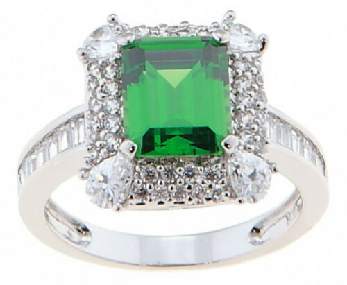 STERLING SILVER CZ ROYAL EMERALD COCKTAIL// WEDDING RING