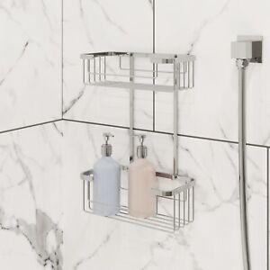 Bathroom Two Tier Shower Bath Caddy Chrome Slotted Modern Storage Tidy