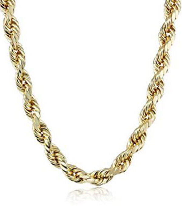 14kt Yellow gold 5.5mm Rope Chain Hollow 26 Inch