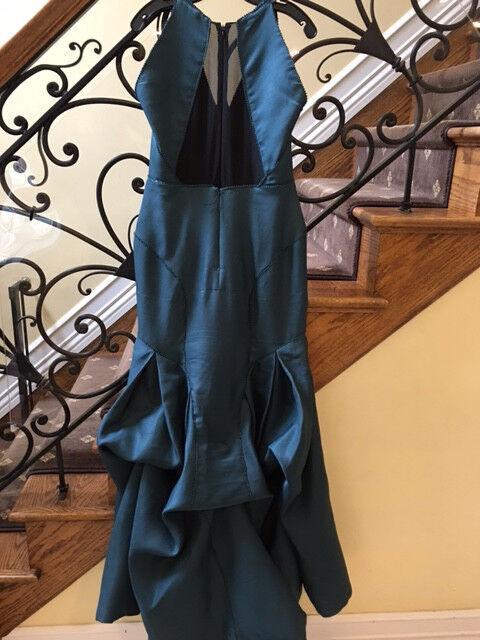 J Mendel Green Green Green Trumpet Dress Gown Beads Sheer Seams Train Sz 10 Nice 823ea5