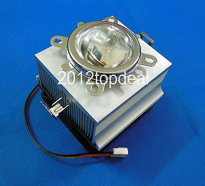 20-100W LED Aluminium Heat Sink Cooling Fan+90-120°44mm Lens + Reflector Bracket