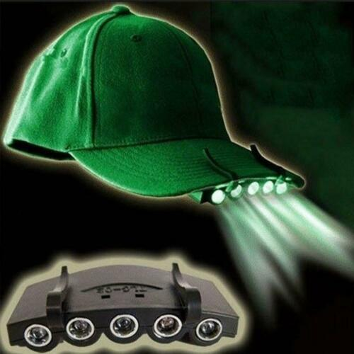 Clip On 5 LED Head Cap Hat Light Lamp Torch Fishing Camping Hunting  Outdoor