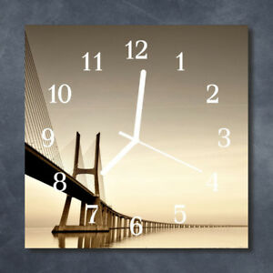 Glass-Wall-Clock-Kitchen-Clocks-30x30-cm-silent-Bridge-Sepia